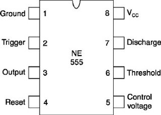 IC 555 timer pinout diagram