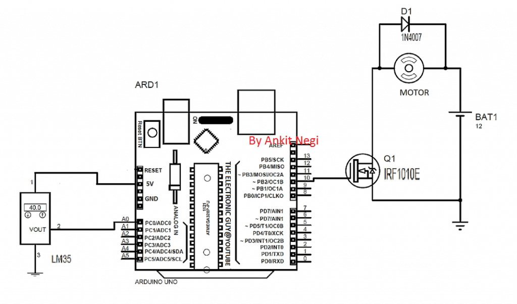 Arduino temperature dependent DC fan control