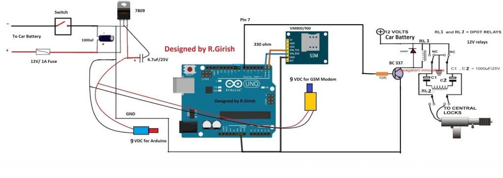 Gsm car ignition and central lock using arduino now lets look at the circuit diagram of this cellphone controlled arduino based gsm car central locking system pooptronica