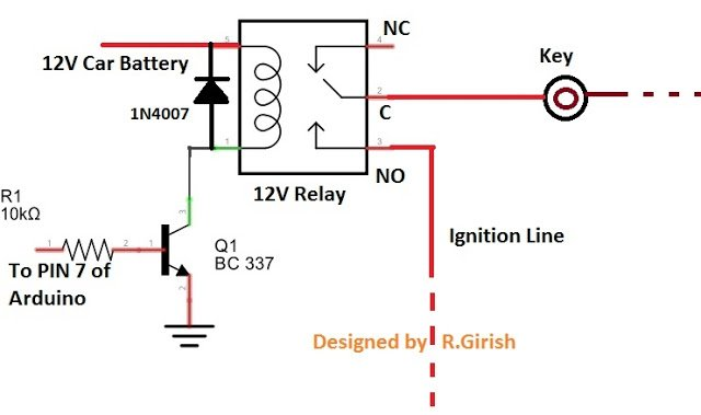 Arduino GSM Car Ignition and Central Lock Relay Wiring