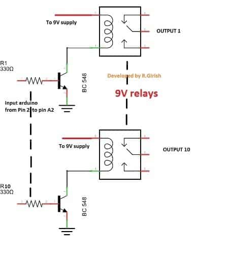 2.4 GHz 10 Channel Remote Control relay connections
