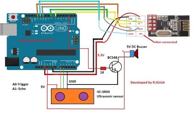 Car Parking Sensor Alarm Transmitter Circuit