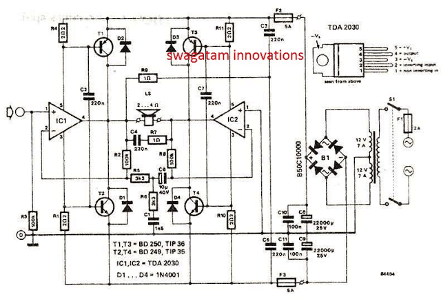 120 Watt Amplifier Circuit using TDA 2030 IC