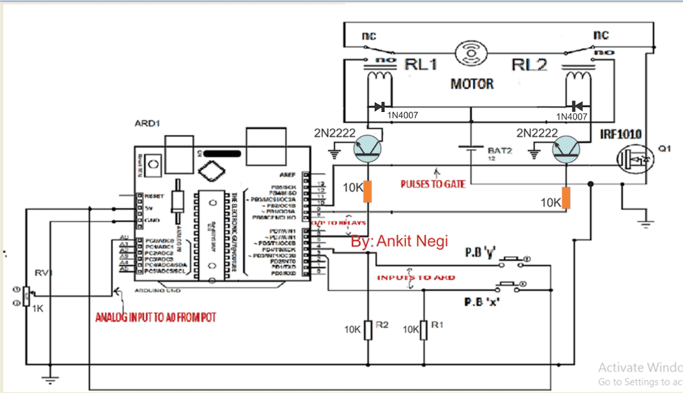 high current motor control circuit using arduino