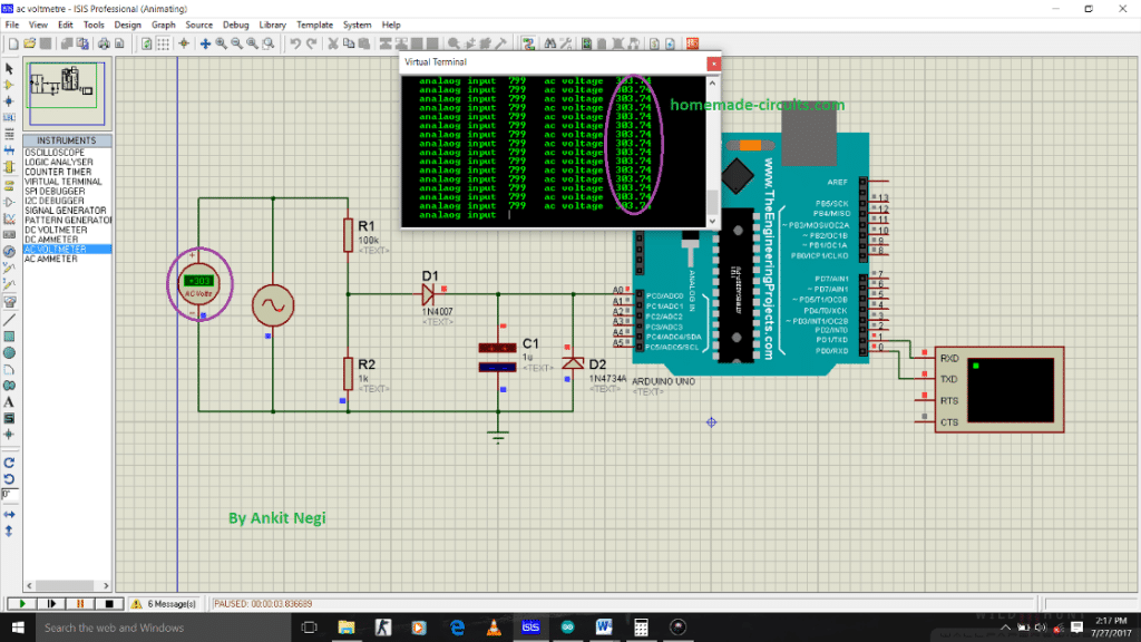 Transformerless AC Voltmeter Circuit Using Arduino | Homemade