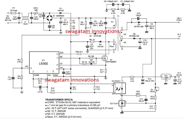 110V, 14V, 5V SMPS Circuit