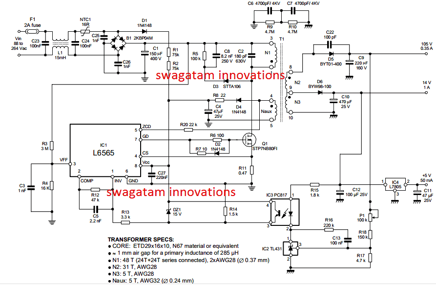 [SCHEMATICS_4HG]  110V, 14V, 5V SMPS Circuit - Detailed Diagrams with Illustrations |  Homemade Circuit Projects | 110v Schematic Wiring Diagram |  | Homemade Circuit Projects