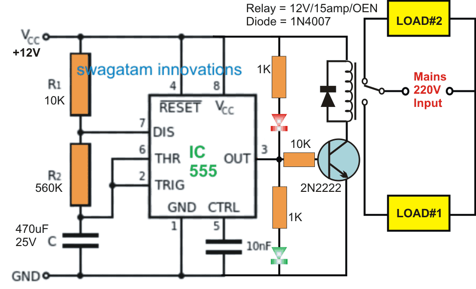 Simple Flasher Circuit Using Relay