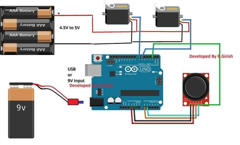 How to Control Servo Motor Using Joystick | Homemade Circuit Projects