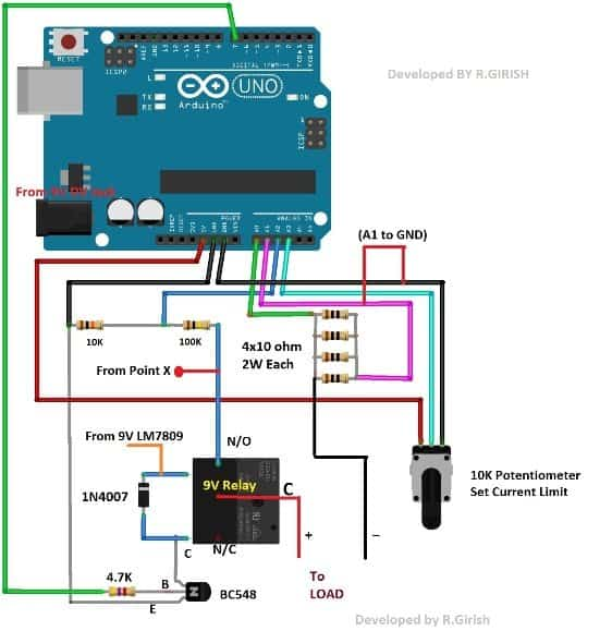 resistor network for Over Current Cut-off Power Supply Using Arduino