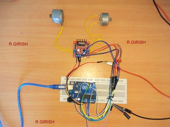 Arduino prototype of motor driver circuit using of L298N module.