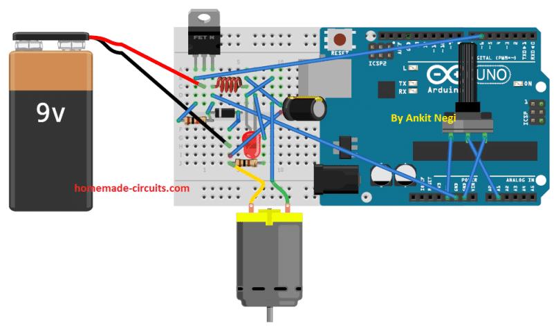 Buck Converter Using Arduino wiring layout