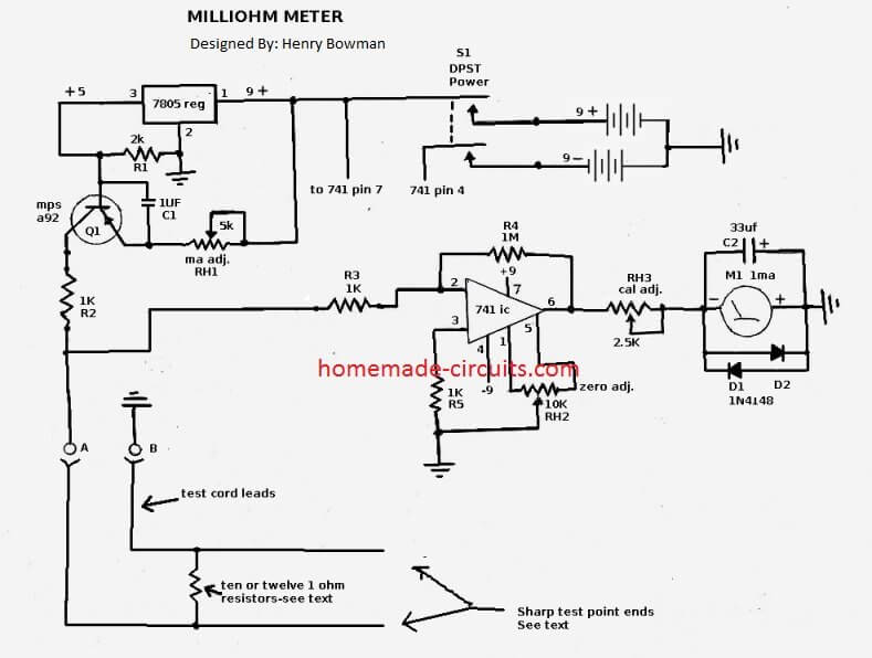 milliohm meter tester circuit
