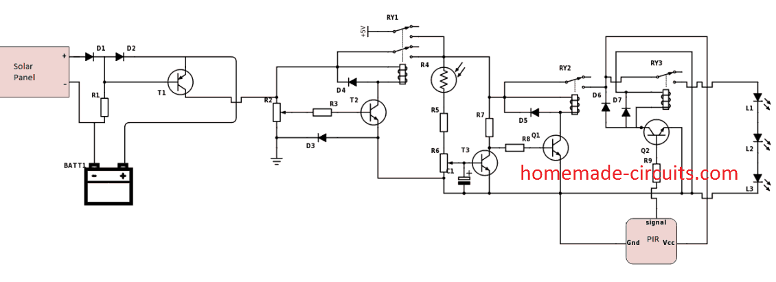 PIR controlled LED solar lamp circuit