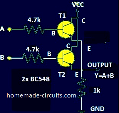 Two Transistor OR gate Schematic